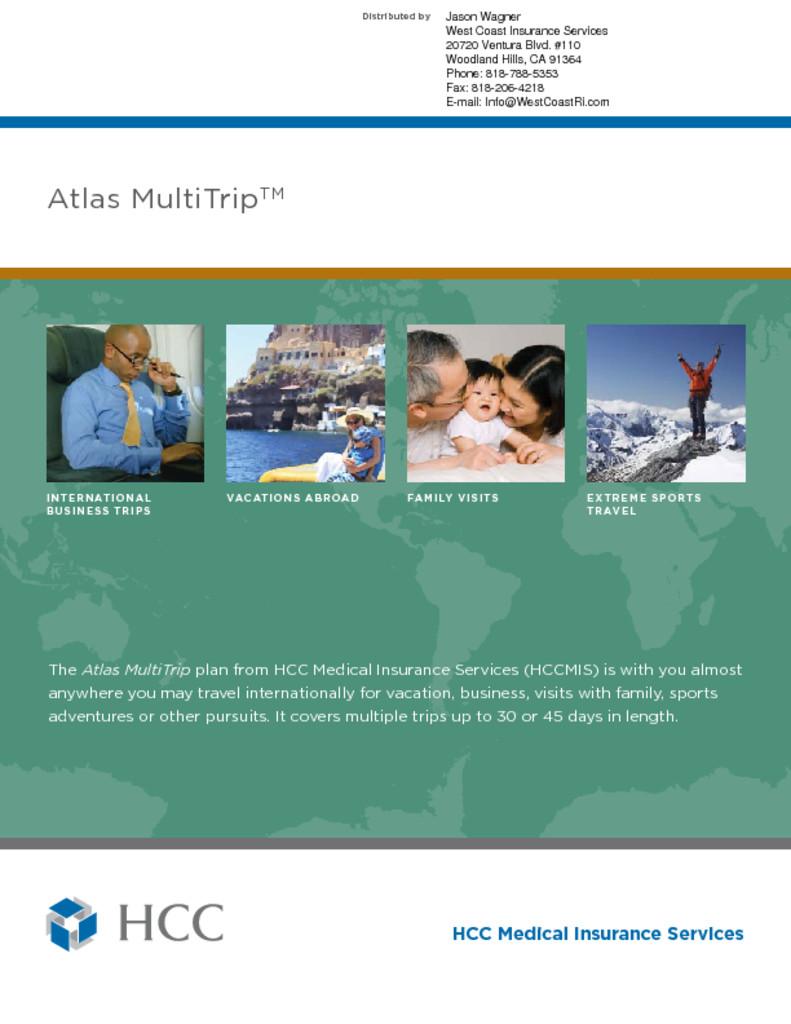 HCC - ATLAS Travel Medical Insurance - Multi Trip - West