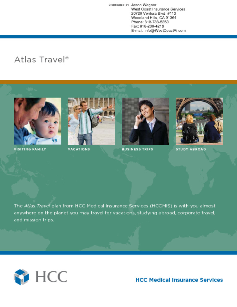 HCC - Atlas Travel Medical Insurance - Single Trip - West